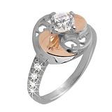 Серебряное кольцо с золотой вставкой и цирконием Фортуна