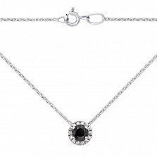 Золотое колье Дэлия в белом цвете с черным и белыми бриллиантами