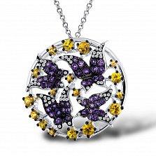 Кулон из белого золота Соцветие бабочек с аметистом, сапфиром и бриллиантами