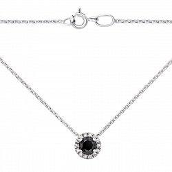 Золотое колье в белом цвете с черным и белыми бриллиантами 000125314