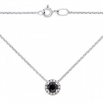 Золоте кольє в білому кольорі з чорними і білими діамантами 000125314