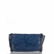 Кожаный клатч Genuine Leather 1005 синего цвета с декоративной строчкой и цепочкой