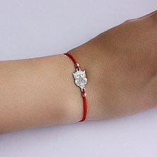 Шёлковый браслет с серебряной вставкой Сова