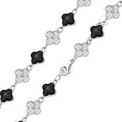 Серебряный браслет Веночек из клевера с черной эмалью и фианитами в стиле Ван Клиф