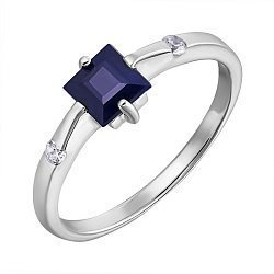 Серебряное кольцо с сапфиром и фианитами 000132486