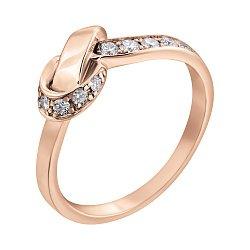 Золотое кольцо в красном цвете с фантазийной шинкой и бриллиантами, 0,3ct 000070581