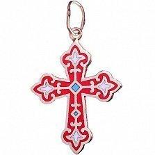 Серебряный крестик Лилии с эмалью