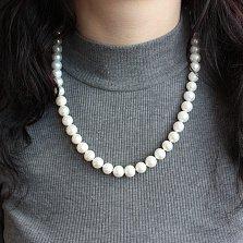 Жемчужное ожерелье Вечная классика с серебряной застежкой и бусинами 10мм
