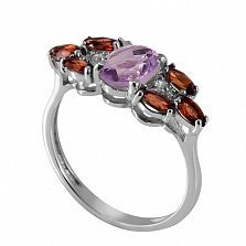 Серебряное кольцо с аметистом и красным цирконием Ульяна