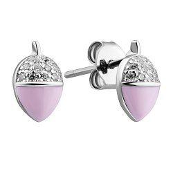 Серебряные серьги с эмалью и фианитами 000132450