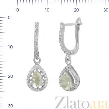 Серебряные серьги-подвески Серафима с зеленым кварцем и фианитами 000081927
