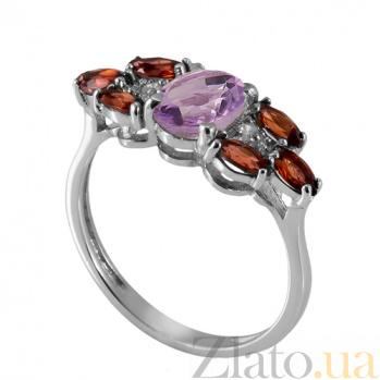 Серебряное кольцо с аметистом и красным цирконием Ульяна Ульяна к/ам-кр цир