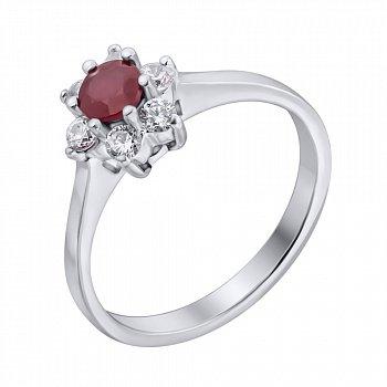 Серебряное кольцо с рубином и фианитами 000140583