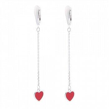 Серебряные серьги-подвески Кровавые сердца с красной эмалью и цепочками 000093873