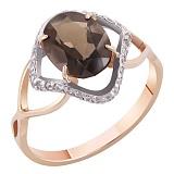 Золотое кольцо Арпеджио с раухтопазом и фианитами