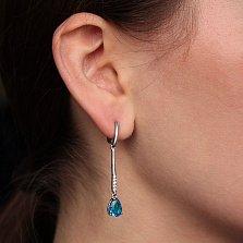 Серебряные серьги Илона с голубым кварцем и фианитами
