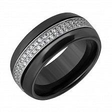 Керамическое кольцо с фианитами Адвика