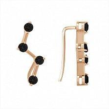 Золотые серьги-каффы Аманда с чёрными фианитами