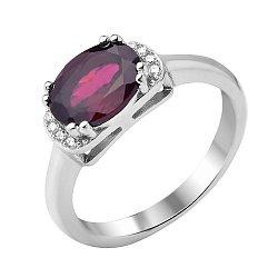 Серебряное кольцо с гранатом и фианитами 000117869