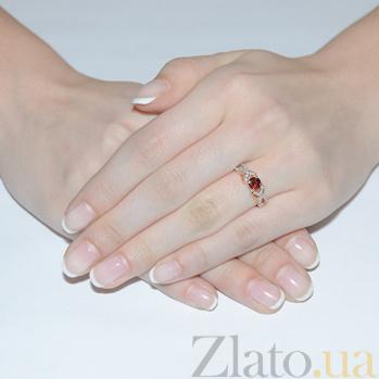 Золотое кольцо с гранатом и фианитами Ирина 3523406