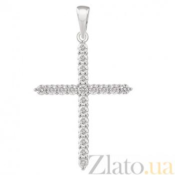 Декоративный крест с бриллиантами Мелодия души KBL--П203/бел/брил