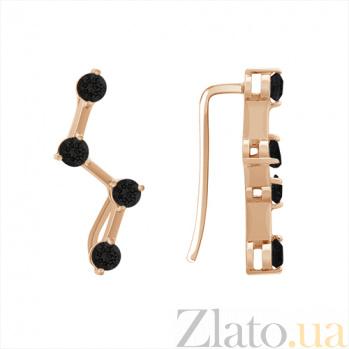 Золотые серьги-каффы Аманда с чёрными фианитами SVA--2101049101ч/Фианит/Цирконий