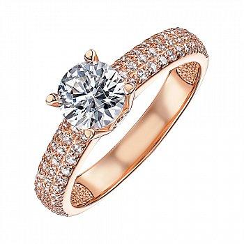 Кольцо из красного золота с фианитами 000103764