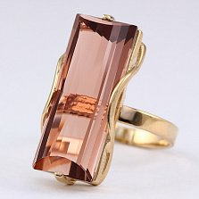 Кольцо из красного золота с раухтопазом Хищница