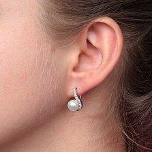 Серебряные серьги Дар океана с белым жемчугом и фианитами