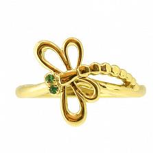 Кольцо Стрекоза из желтого золота с цаворитами