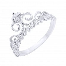 Серебряное кольцо на верхнюю фалангу Царевна с фианитами