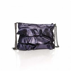 Кожаный клатч Genuine Leather 6504 цвета баклажан с декоративными оборками и плечевым ремнем 0000920