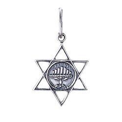 Серебряный черненый кулон Звезда Давида с менорой во внутреннем круге 000061370