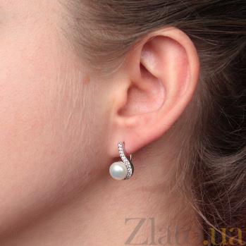Серебряные серьги Дар океана с белым жемчугом и фианитами PTL--7с302/35