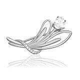 Серебряная брошь Цветок с фианитами