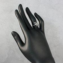 Серебряное кольцо Стрекоза с бриллиантами