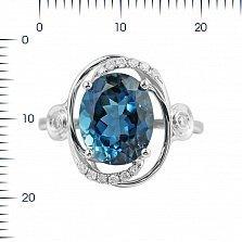 Кольцо из белого золота Миранда с бриллиантами и голубым топазом
