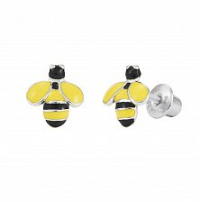Серебряные серьги-пуссеты Пчела с черной и желтой эмалью, 8х9мм