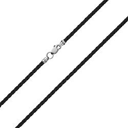 Черный плетеный текстильный шнурок с серебряным замком, 3мм 000078986