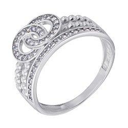 Серебряное двойное кольцо с фианитами 000113296