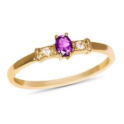 Золотое кольцо Секреты султана с аметистом и фианитами