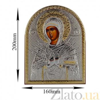 Икона Богородица Семистрельная на деревянной основе, 20х16см 000061918