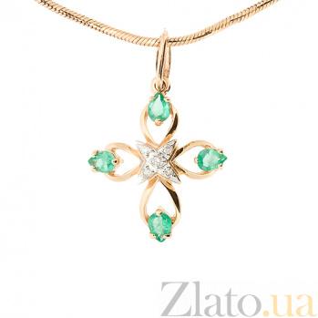 Золотой декоративный крест в красном цвете с бриллиантами и изумрудами Бари ZMX--PE-6524_K