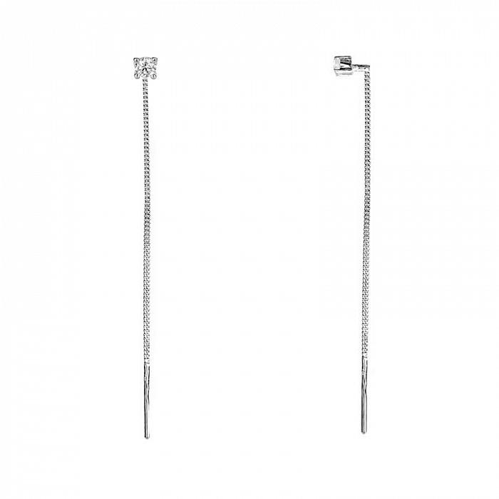 Серебряные серьги-протяжки Кайлин с кристаллами циркония 000062741