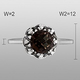 Кольцо Эстелла из белого золота с бриллиантами и раухтопазом