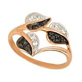 Золотое кольцо Осень с черными и белыми фианитами