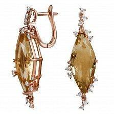 Серьги из красного золота Мария с бриллиантами и цитринами