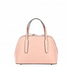 Миниатюрная кожаная сумка Genuine Leather 8672 розового цвета на кулиске, с металлическими ножками