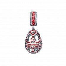 Серебряный кулон-шарм Фаберже с красной эмалью и фианитами