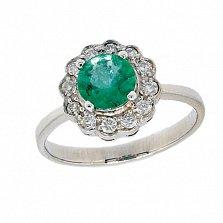 Золотое кольцо в белом цвете с изумрудом и бриллиантами Мариэль